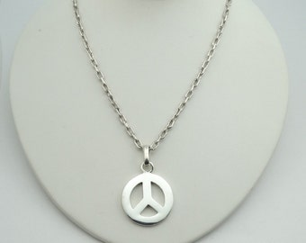 Imagine Peace!  Solid Sterling Silver Pendant and Includes a 26 Inch Heavy Sterling Silver Chain!  #PEACE-SPC2