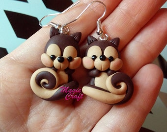 Squirrel, Squirrel and Acorn Earrings - Polymer Clay