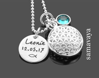Baptism Chain My baptism flower of life 925 silver necklace baptism Gift Name Necklace