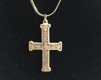 Cross Pendant,Cross Necklace,Museum Pendant,MMA Pendant,Christian Pendant,Christian Necklace,MMA Necklace,Enamel Cross Pendant,Gold Cross