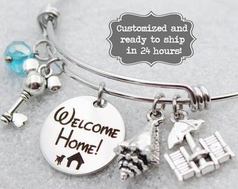 DVC Hilton Head - Welcome Home - Vacation Club - DISNEY Inspired, Resort, Custom Name Charm Bracelet Adjustable Bangle, Mickey Key, Beach