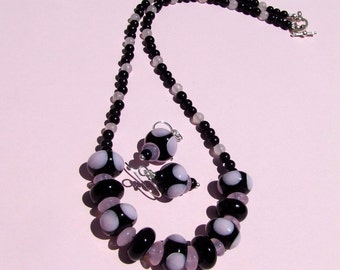 Reduced, Black and Pink Lampwork Necklace Set