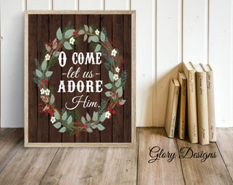 Printable, Bible Verse, O Come Let Us Adore Him, Hymn, Merry Christmas