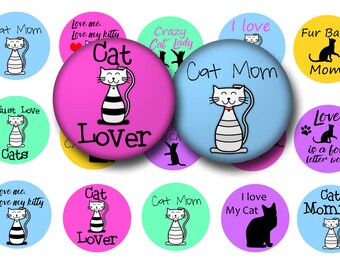 Cat lover bottle cap images - Cats digital collage sheet - Cats 1 inch circles digital download - Magnets - Key chains - Badge reels