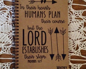 """Personalized Journal, """"The Lord establishes their course"""", Proverbs 16:9"""