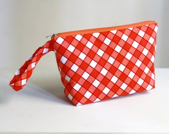 Zippered pouch, plaid red and white checks, make up pouch, cosmetic pouch