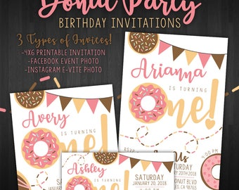 Donut Party Birthday Invitations! (Digital Files)