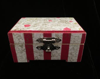 Valentine Love Decoupaged and Handpainted Jewelry Box