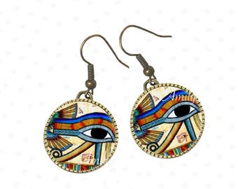 Egypt earrings under cabochons, Egyptian jewelry