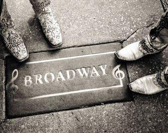 "Nashville Art, Nashville Photography, Cowboy Boot Print, Downtown Nashville, Country Music, Broadway, Nashville Street ""Boots on Broadway"""