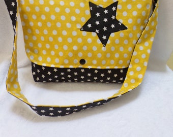 Yellow and black school bag