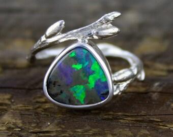 Boulder Opal Ring, Branch ring, willow band, twig ring, opal engagement, organic wedding, fire opal, australian opal, tree of life, boho