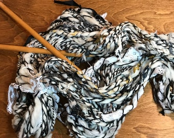 Hand Spun Art Yar, Black and White with Gold