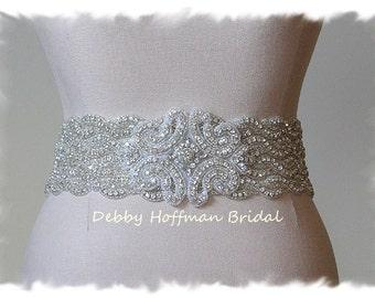 Rhinestone Crystal Bridal Belt, Beaded Wedding Dress Sash, Jeweled Wedding Belt, Wide Statement Bridal Sash Belt, No. 1126S4-18-3050