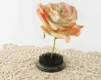 Vintage Metal Floral Frog with Green Patina, Pincushion Spike Round Florist Flower Arranging Tool, Wedding Industrial Decor Photo Display