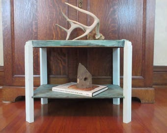 1940s Deco Side Table / Inlaid Mahogany / Rustic Coffee Table / Southwest Design / Mountain Lodge / Up-cycled