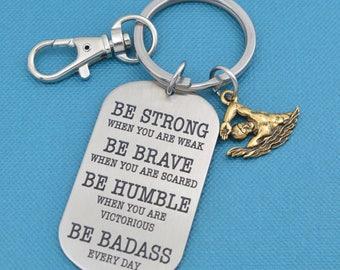 Swimming keychain.  Swimming gifts.  Swimmer gift.  Be badass every day.  Swimming charm. Swimmer keychain.
