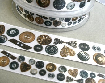 "1 m Satin Ribbon ""Collection of Buttons""  15 mm 25 mm"