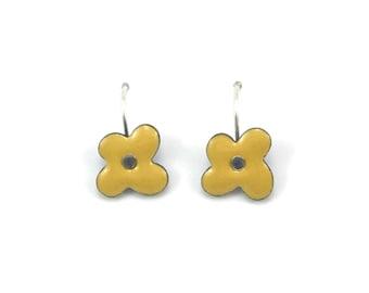 Reversible enamel forget-me-not flower earrings on sterling silver earwires