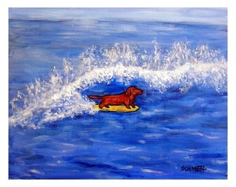 dachshund art - Dachshund Surfing Dog Art Print - dachshund gifts
