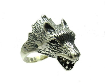 Sterling silver wolf ring solid 925 pendant