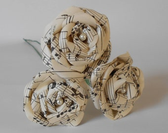 Set of 3 sheet music paper flowers