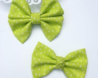 Fabric Bow, Baby Headband, Citrus Lime Dots Bow, Spring Bow