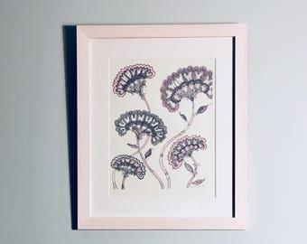 Floral silk screen print framed