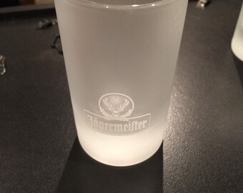 Frosted jägermeister shot glass