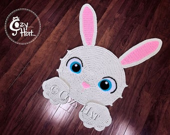 READY TO SHIP! Easter Bunny Rug. Hand Crocheted. Perfect Baby Shower or Housewarming Gift. Unique Item. Sale.