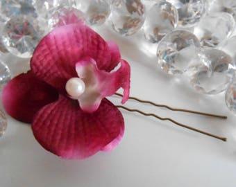 Purple Orchid wedding hair