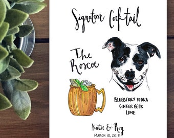 Custom Pet Signature Drinks Wedding Sign for Bar print, Signature Drink Sign with Dog, Signature cat sign, Party Sign with Pet, his and hers