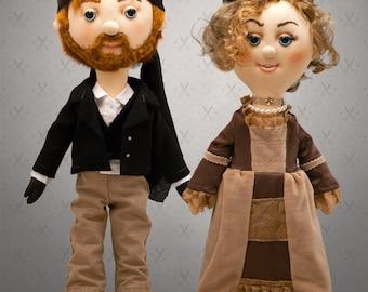 Giant Selfie doll couple- 57/60 cm tall doll, rag doll, art doll, custom doll, character doll