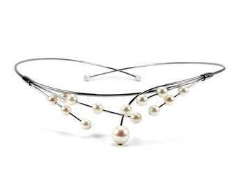 White Cultured Pearls Wire Bridal Necklace Design