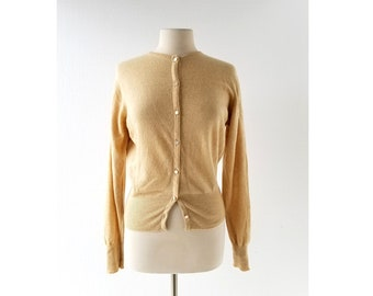 50s Cashmere Sweater | Biscuit | 1950s Cardigan | Hadley Cashmere | S M