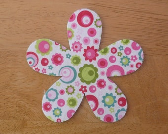 Flower #2 -  Large Iron on Fabric Flower Applique 11cm x 11cm daisy applique, made to order, choose your own fabrics, ships from UK