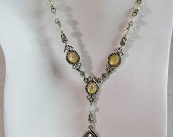 1980s Vintage Cyrstal Choker Necklace, Iridescent Crystals