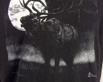 vtg 80s 90s soft Nature Moose Moon T-Shirt Santa Fe New Mexico sz XL