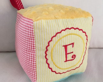 Custom Design Soft Block Baby Toy - Personalized with Monogram Initial - Made to Order - Your Choice of Fabrics
