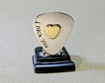 Sterling silver guitar pick and brass heart handcrafted with artisan love