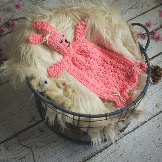 Loom Knit Bunny Lovey Pattern Rabbit Blanket Toy For Baby Pdf Loom