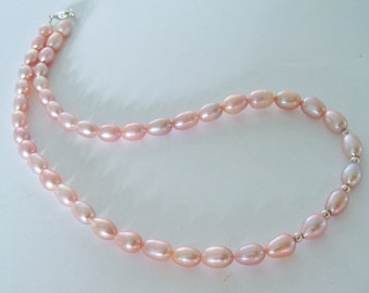 Freshwater Pearl necklace  with .925 silver beads