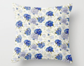 Outdoor Pillow Cover with Pillow Insert, Outdoor Pillow Cover,  Cape Cod Hydrangeas & Gold French Script