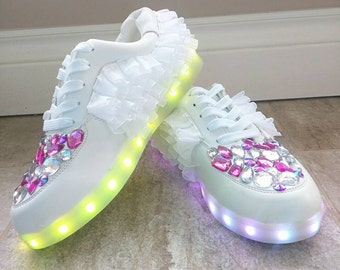 Free Shipping LED Pink Princess Rhinestone Light Up Shoes/ Color Changing Lights/ Size 7.5 US Women/ ORIGINAL Design by DulcetSoul