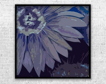 Art Print, Purple Daisies #1, Printable Art, Digital Art, Instant Download, Wall Decor