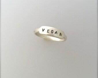 Vegan Signet Ring-Vegan Ring-Vegan Gift-Recycled Metals-Personalized-Vegan Jewelry-Stackable