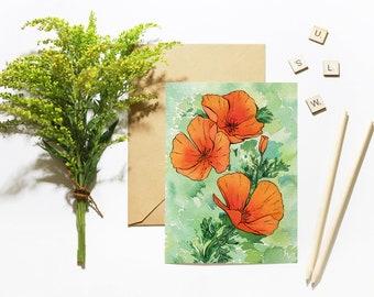 California Poppy Flowers Greeting Card