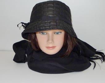 Deep black  vintage  quilted hat - L - Pratique chapeau matelassé noir - Grand
