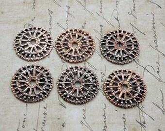 Filigree 18mm Copper Steel Filigree Wheel Link Connector Vintage (6)