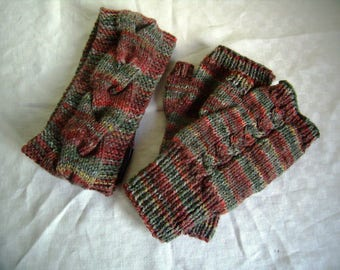 Set of Fingerless mittens and earmuffs, cables, knit hand Warmers for men